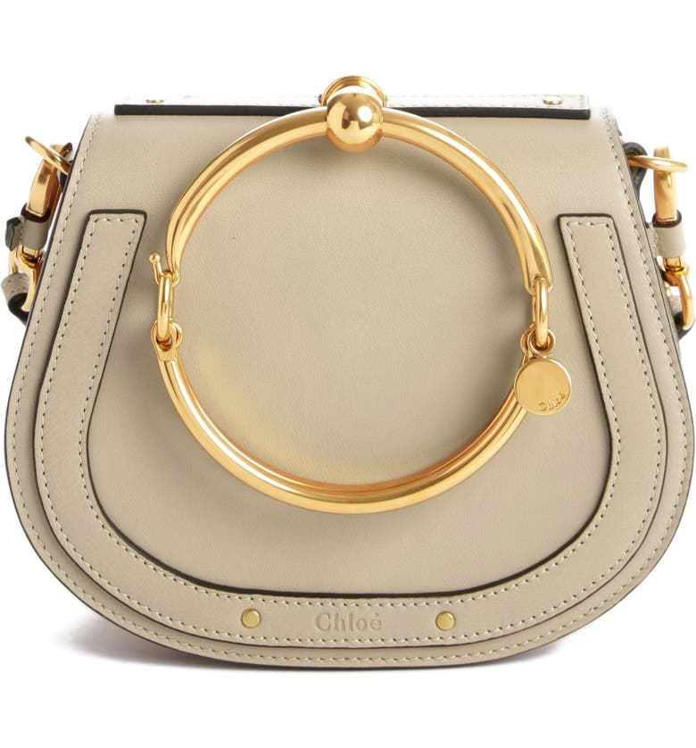 CHLOÉ Small Nile Bracelet Leather Crossbody Bag, Main, color, MOTTY GREY