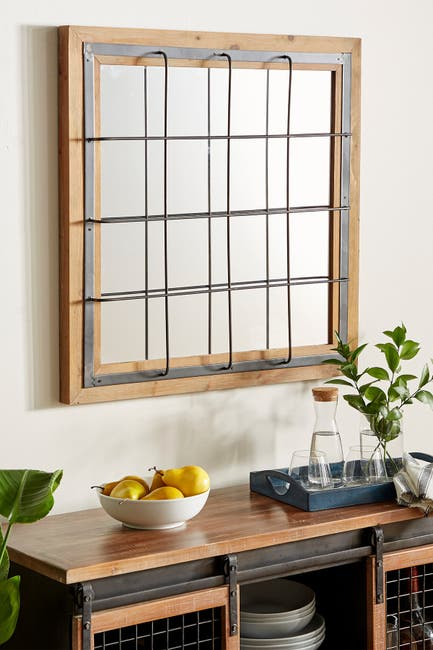 Image of Willow Row Contemporary Square Iron And Wood Grid-Patterned Wall Mirror