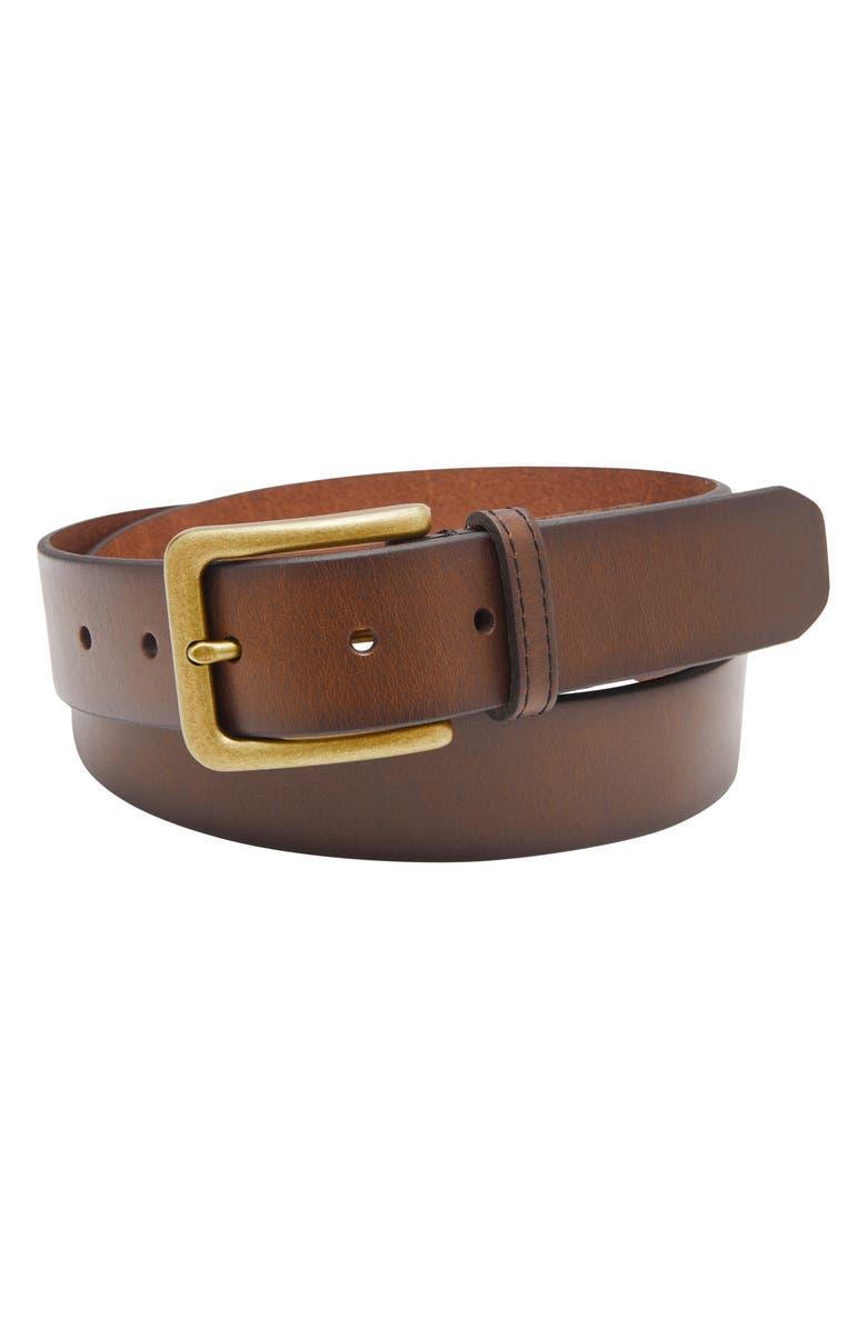 FOSSIL Morrison Leather Belt, Main, color, DARK BROWN
