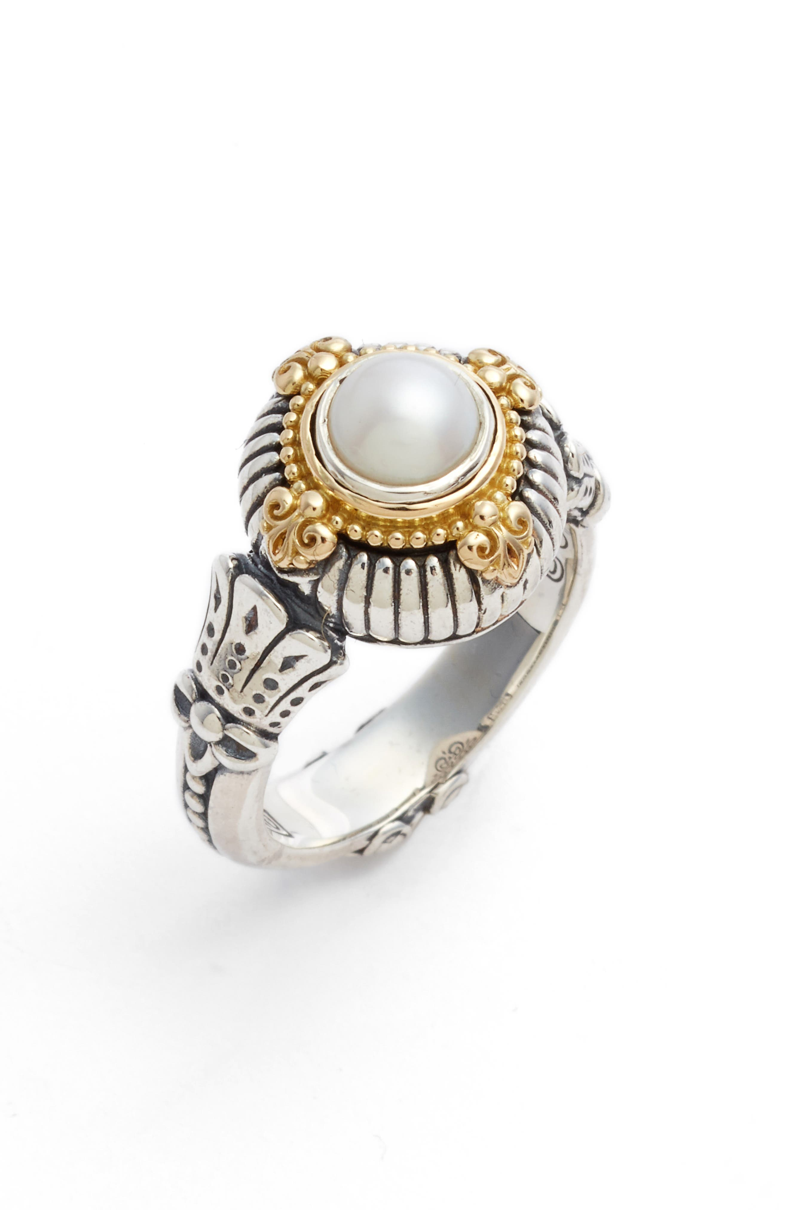 A luxuriously appointed cultured pearl sits at the center of striking ring handmade by Athenian artisans. Style Name: Konstantino Etched Sterling & Cultured Pearl Ring. Style Number: 5577812. Available in stores.
