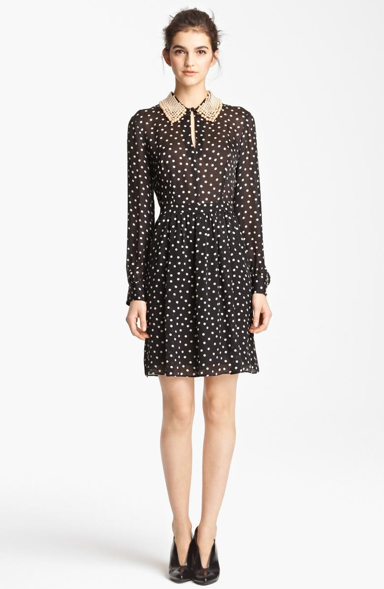 MOSCHINO Cheap & Chic Silk Charmeuse Dress, Main, color, 001