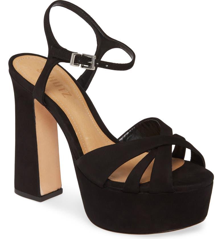 SCHUTZ Delanie Platform Sandal, Main, color, BLACK NUBUCK LEATHER
