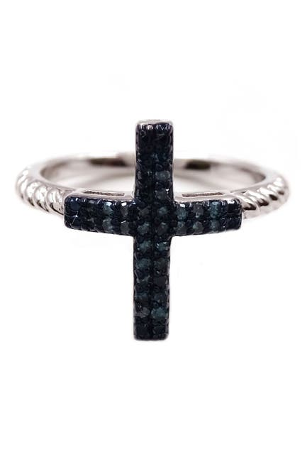 Image of Savvy Cie Rhodium Plated Sterling Silver Blue Diamond Cross Ring - 0.15 ctw