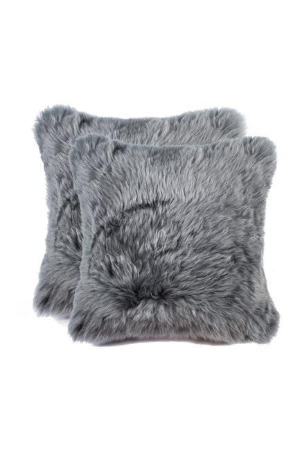 "Image of Natural New Zealand Genuine Sheepskin Pillow - Set of 2 - 18""x18"" - Gray"