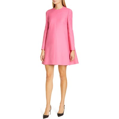 Valentino Cape Back Long Sleeve Crepe Dress, US / 46 IT - Pink