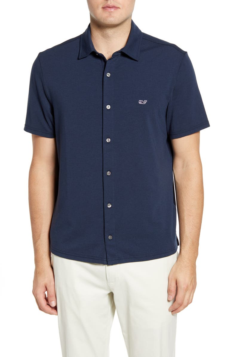 VINEYARD VINES Edgartown Knit Short Sleeve Shirt, Main, color, VINEYARD NAVY