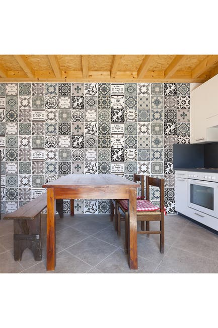 Image of WalPlus Spanish Tiles & Quotes Wall Tile Sticker Set - 48 Pieces