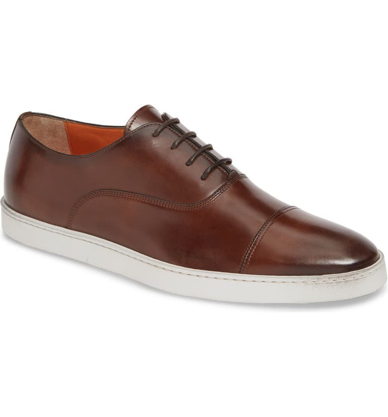 SANTONI 'Durbin' Oxford Sneaker, Main, color, BROWN