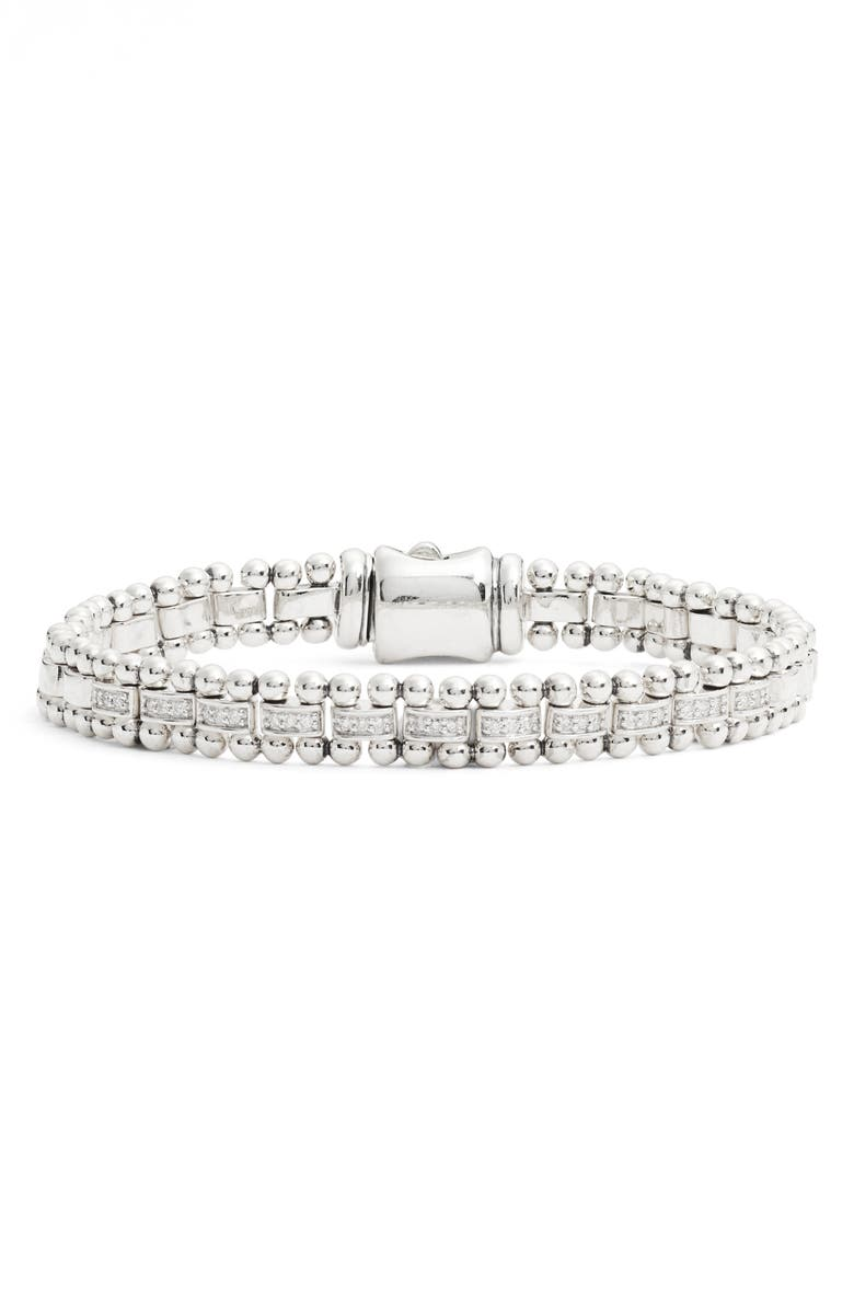 LAGOS Caviar Spark Diamond Link Bracelet, Main, color, SILVER/ DIAMOND