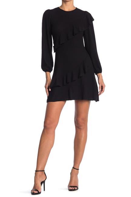 Image of Velvet Torch Ruffled Sweater Mini Dress