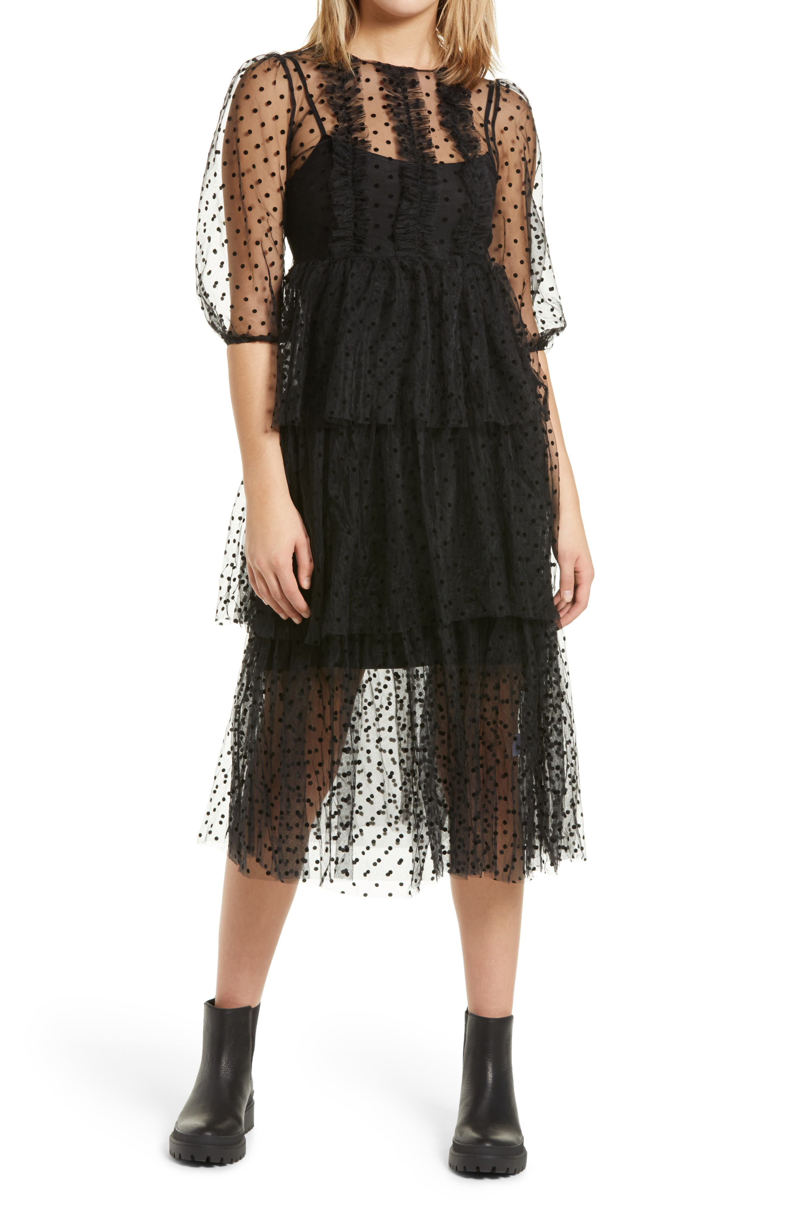Dover Tiered Mesh Dress