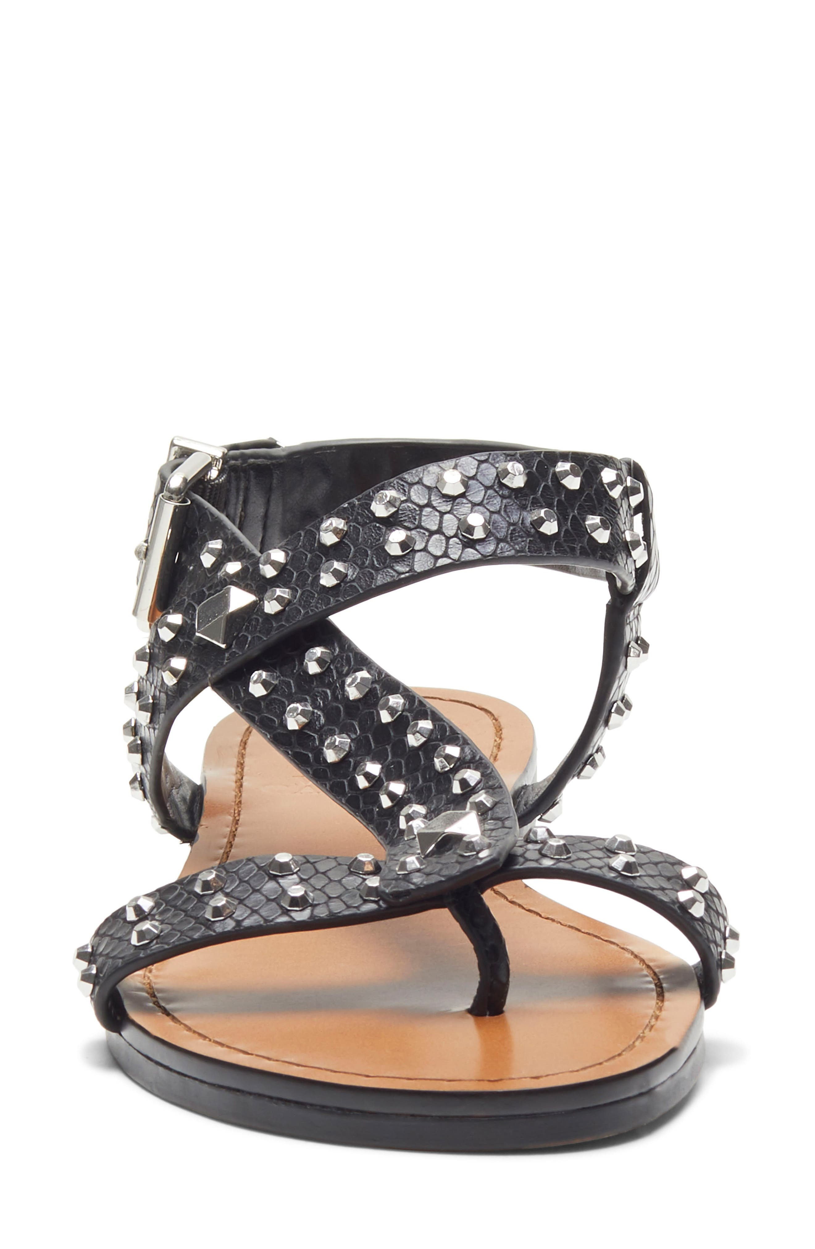 ,                             Ravensa Studded Sandal,                             Alternate thumbnail 4, color,                             BLACK LEATHER