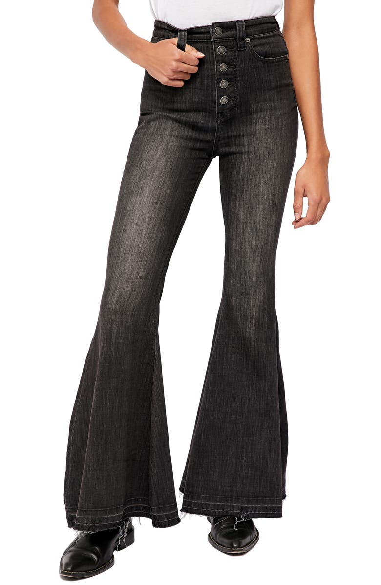 FREE PEOPLE Irreplaceable High Waist Flare Jeans, Main, color, GALAXY BLACK