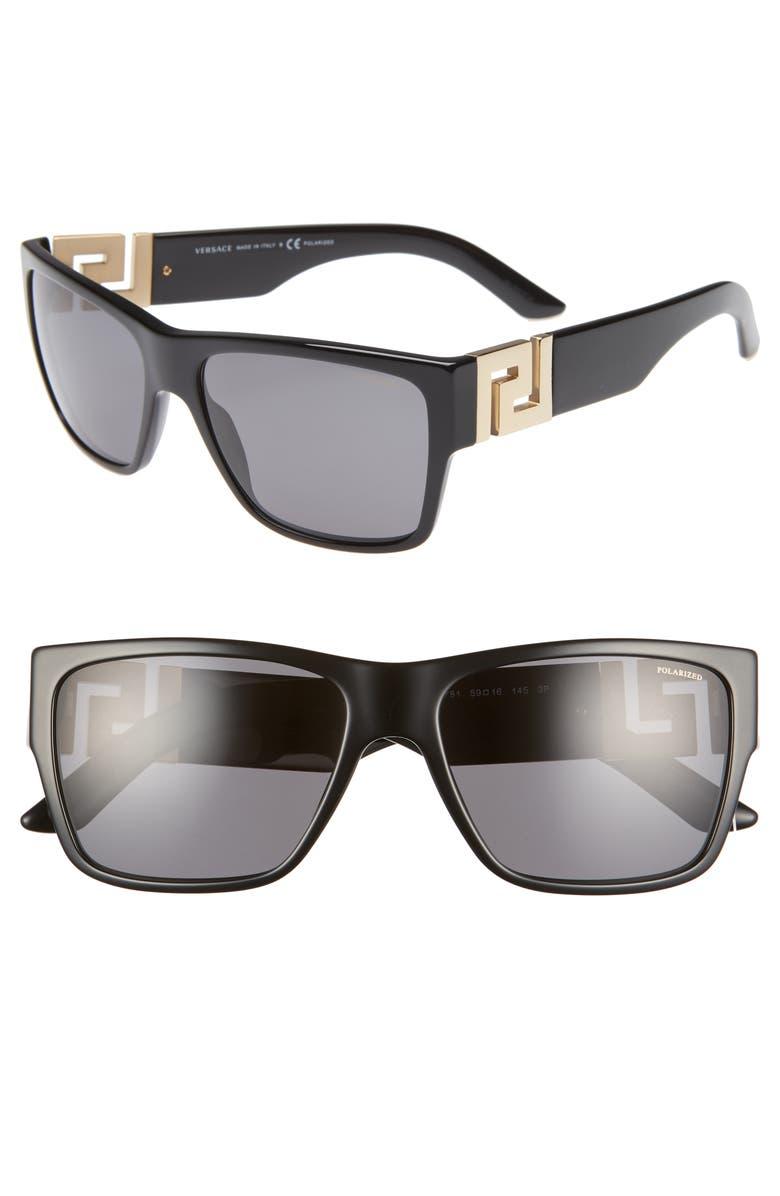 VERSACE 59mm Polarized Square Sunglasses, Main, color, BLACK/ BLACK SOLID