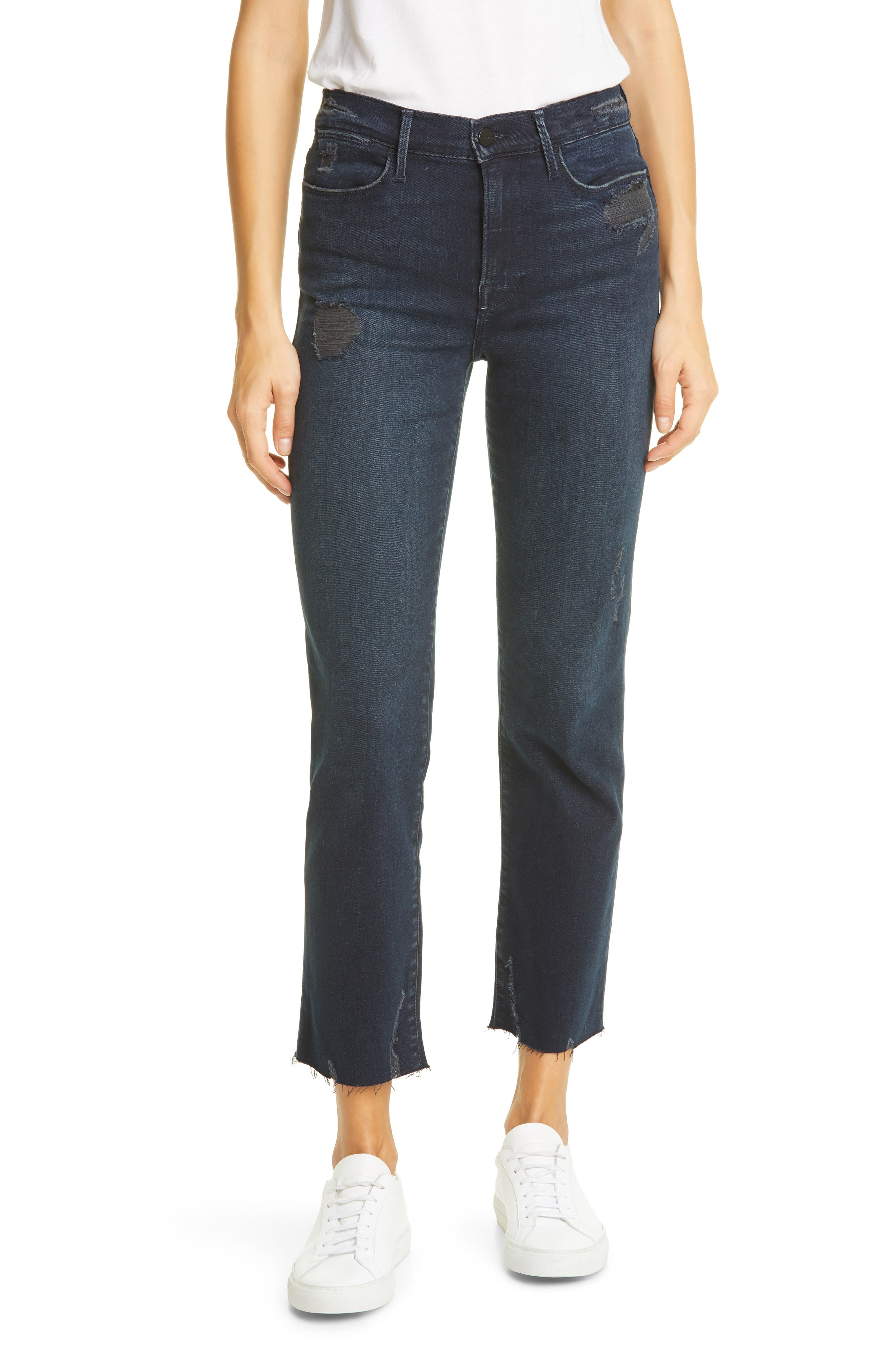 FRAME Le High Raw Hem Ankle Straight Leg Jeans (Seaway Rips) | Nordstrom