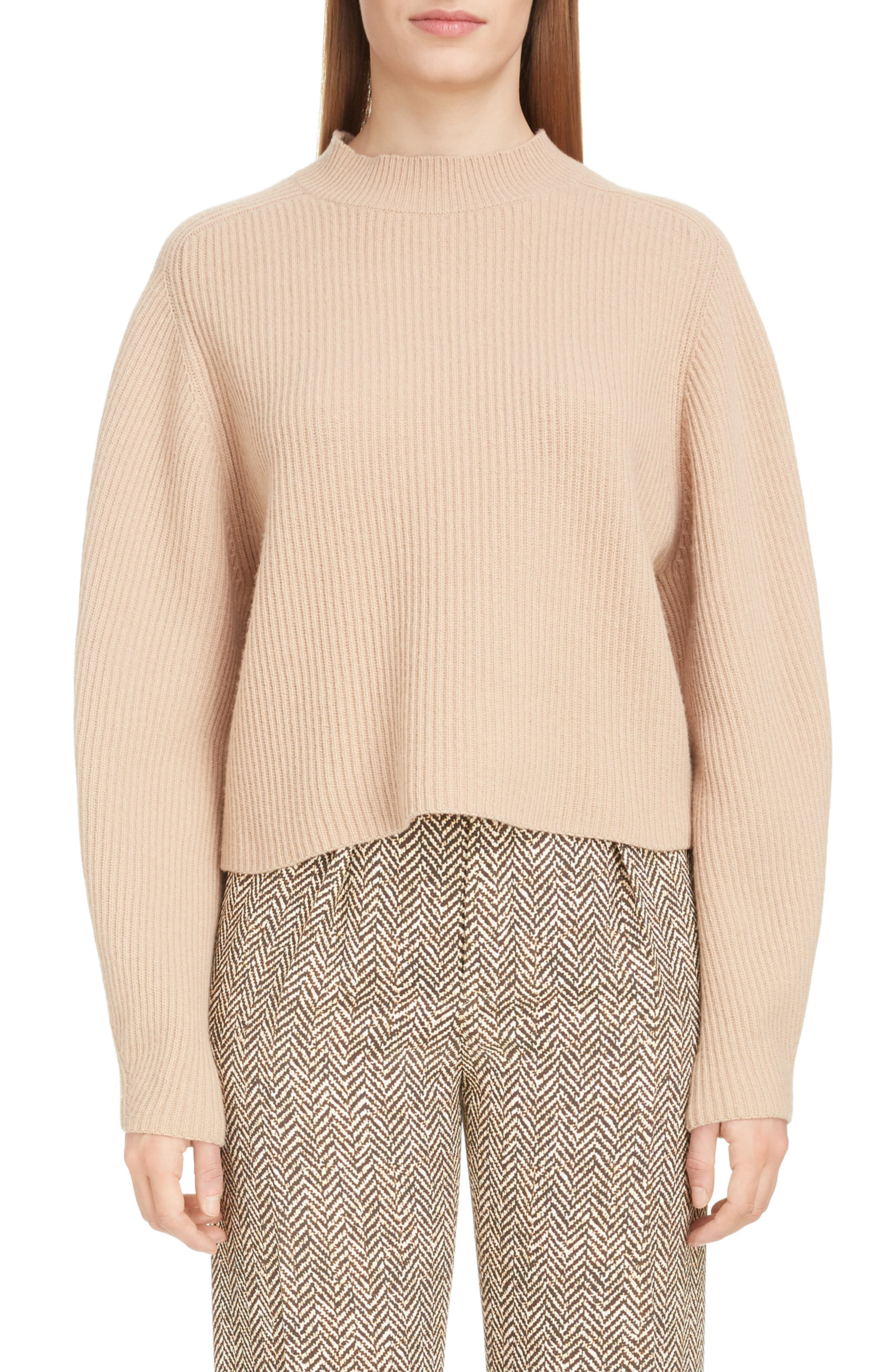 Chloe Exaggerated Sleeve Merino Wool & Cashmere Sweater, Brown