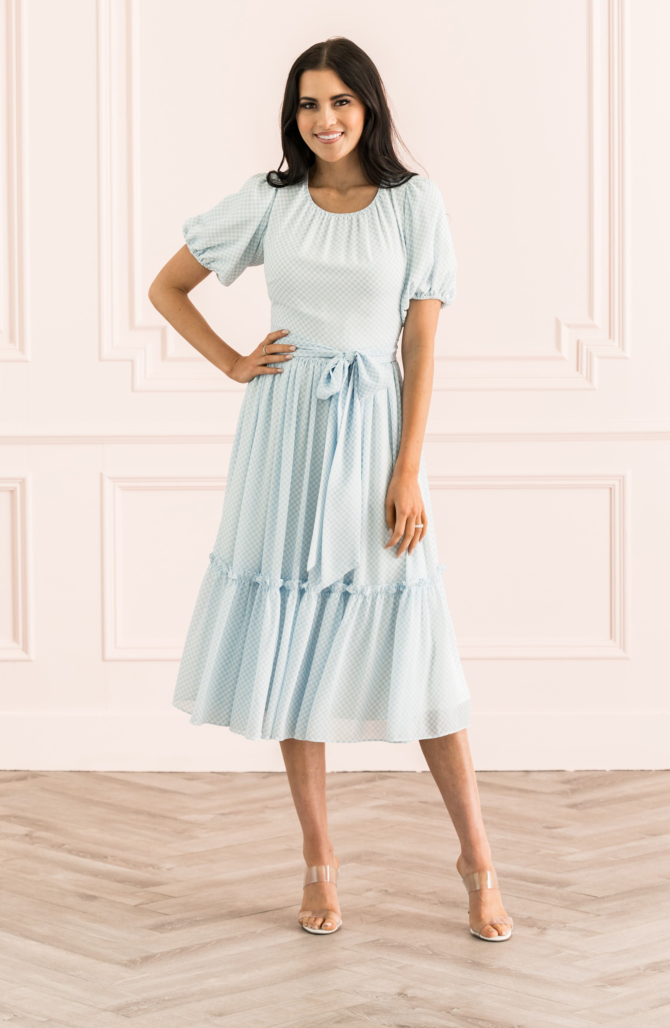 ,                             Gingham Puff Sleeve Dress,                             Alternate thumbnail 12, color,                             BLUE SKYWAY GINGHAM