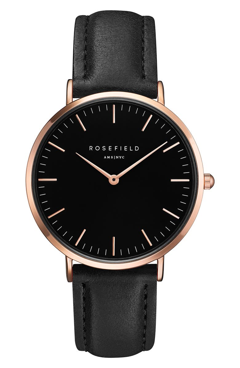 ROSEFIELD Bowery Leather Strap Watch, 38mm, Main, color, 001