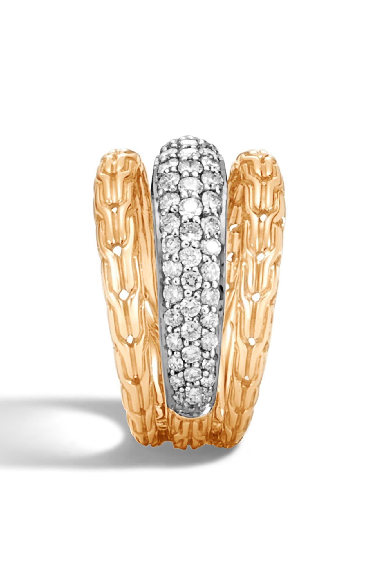 ,                             Classic Chain 18K Gold & Pavé Diamond Ring,                             Alternate thumbnail 3, color,                             GOLD