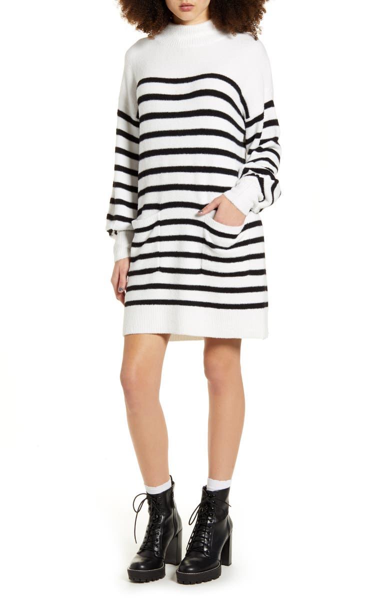 MINKPINK Indhra Stripe Long Sleeve Sweater Dress, Main, color, CREAM/ BLACK