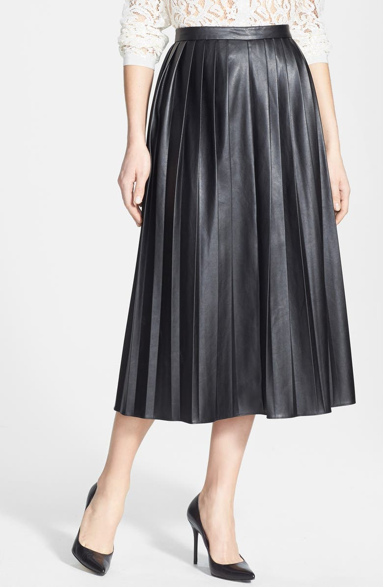 PINK TARTAN Faux Leather Pleat Skirt, Main, color, 001