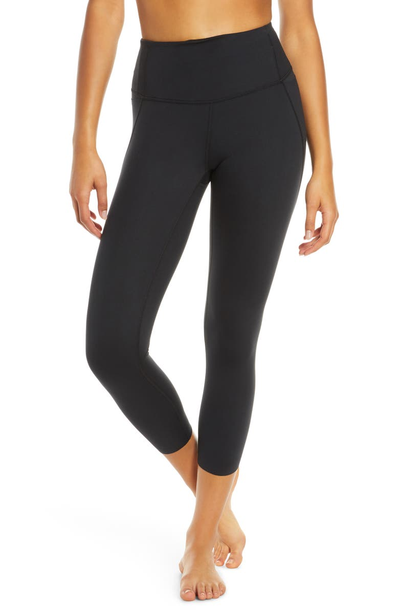 ZELLA Via High Waist Pocket Crop Leggings, Main, color, 001