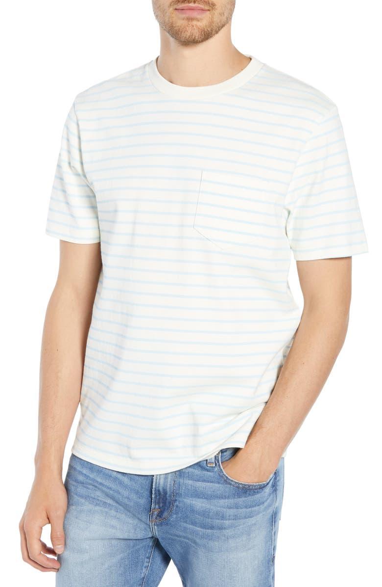 FRAME Slim Fit Striped Pocket T-Shirt, Main, color, 460