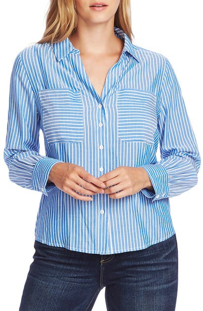 Vince Camuto Tops REFRESH PINSTRIPE TWO-POCKET BUTTON-UP SHIRT