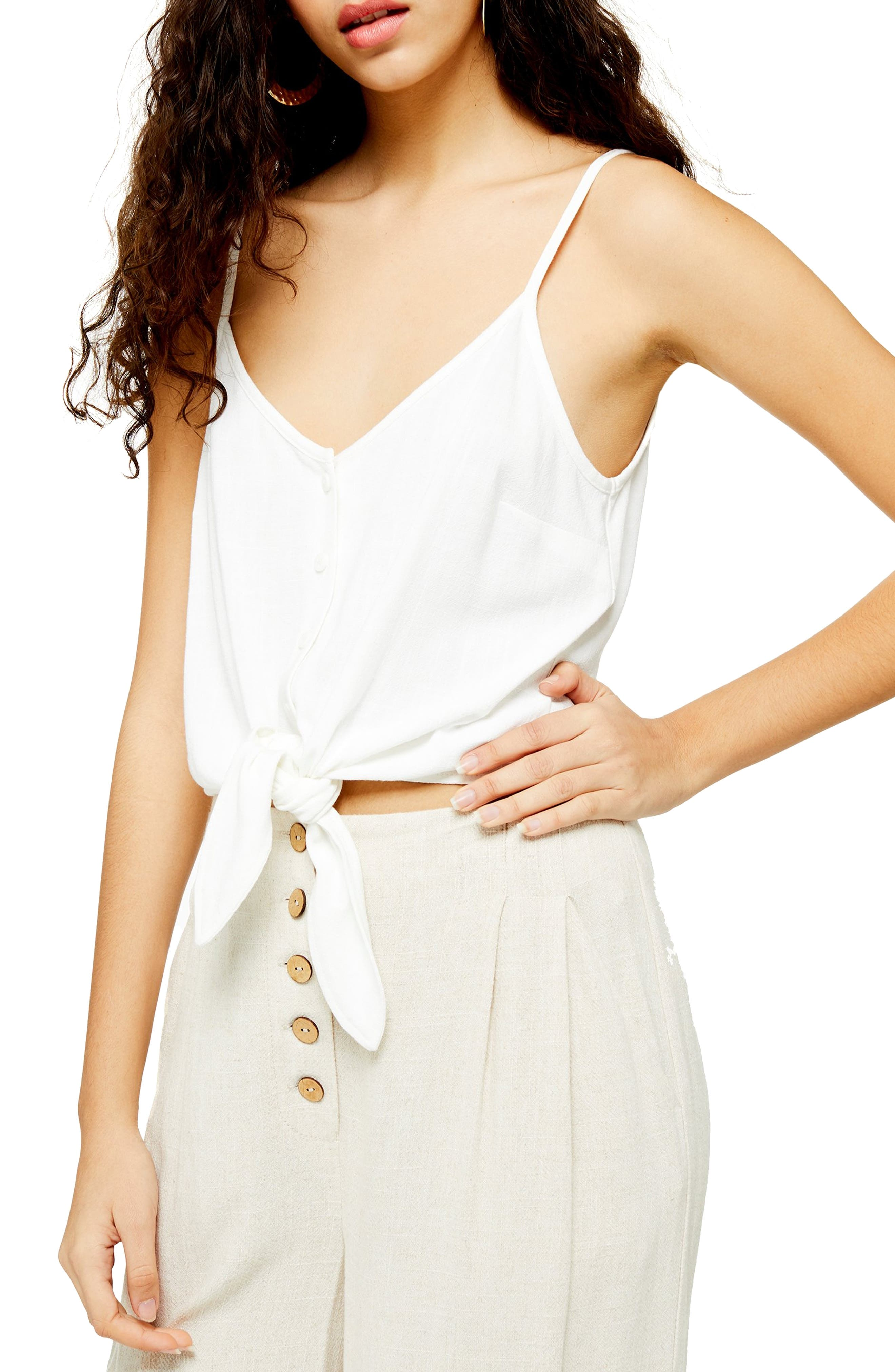 Topshop Polly Tie Front Camisole, US (fits like 14) - Ivory