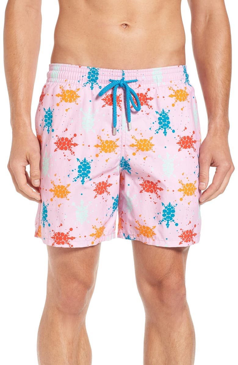 VILEBREQUIN Japan Turtles Print Swim Trunks, Main, color, PINK QUARTZ