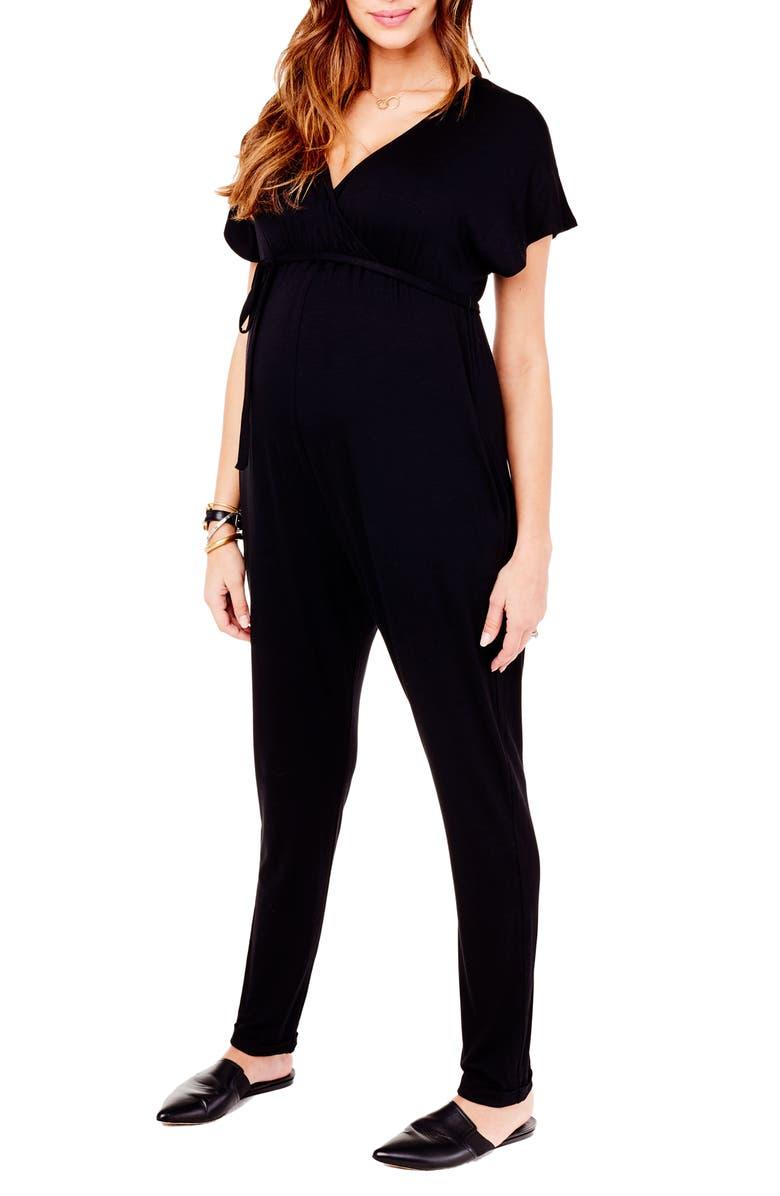 INGRID & ISABEL<SUP>®</SUP> Crossover Maternity Jumpsuit, Main, color, JET BLACK