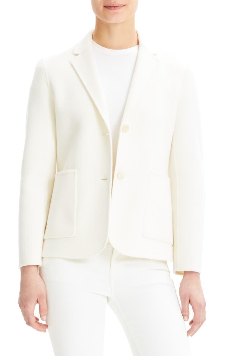 THEORY Shrunken Wool & Cashmere Blazer, Main, color, IVORY