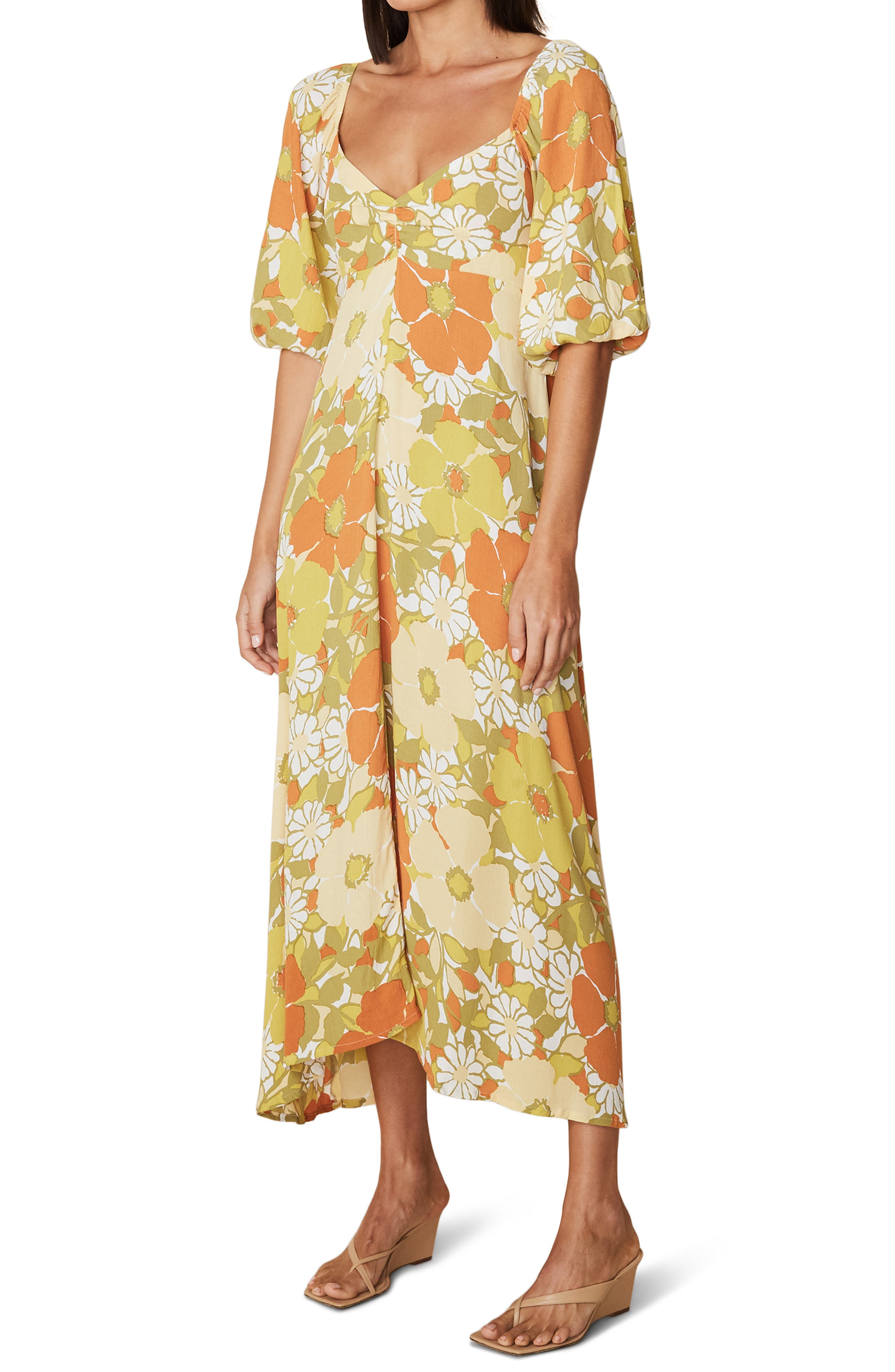 Shop Queen's Gambit Outfits – 60s Clothes Womens Faithfull The Brand Imane Floral Midi Dress Size XX-Large - Beige $209.00 AT vintagedancer.com