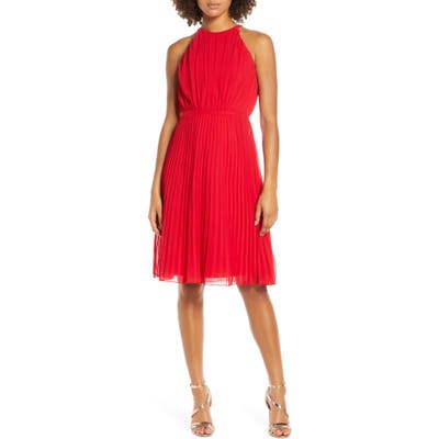 Chi Chi London Soren Pleated Chiffon Cocktail Dress, Red