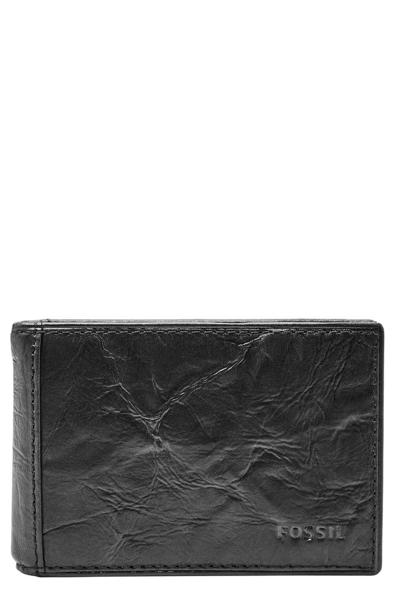 FOSSIL Neel Leather Money Clip Wallet, Main, color, 001