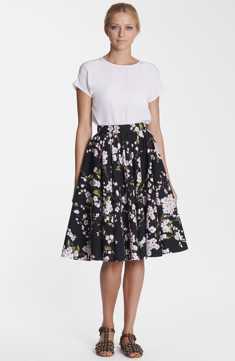 DOLCE&GABBANA Print A-Line Cotton Skirt, Main, color, 001