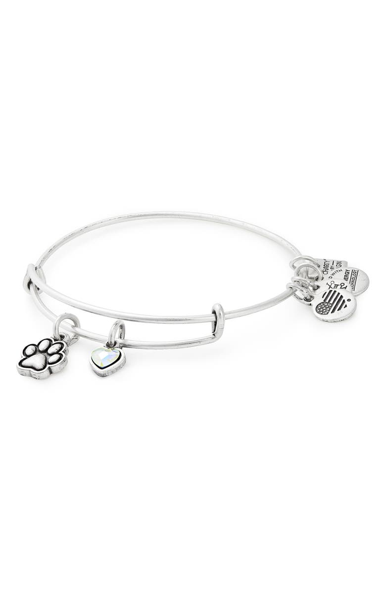 ALEX AND ANI Charity by Design Paw Print Duo Charm Expandable Wire Bangle, Main, color, SILVER