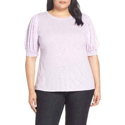 Plus Size Cece Puffed Sleeve Tee, Purple