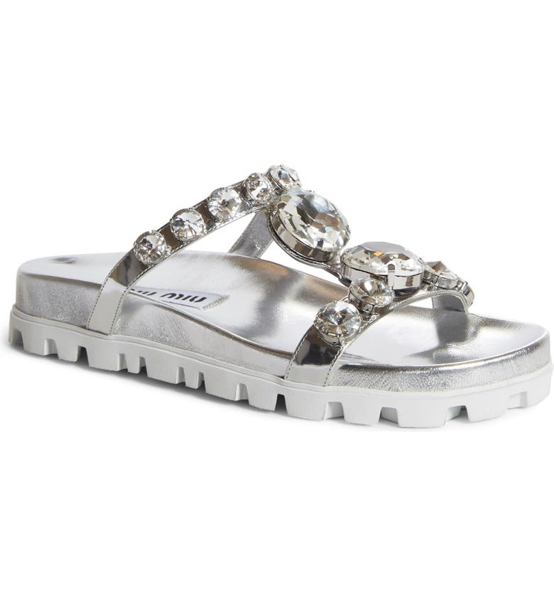 MIU MIU Embellished Slide Sandal, Main, color, SILVER