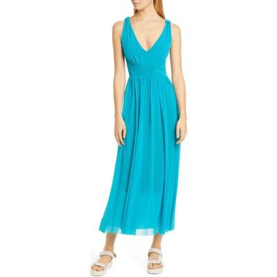 Fuzzi V-Neck Mesh Midi Dress, Blue/green