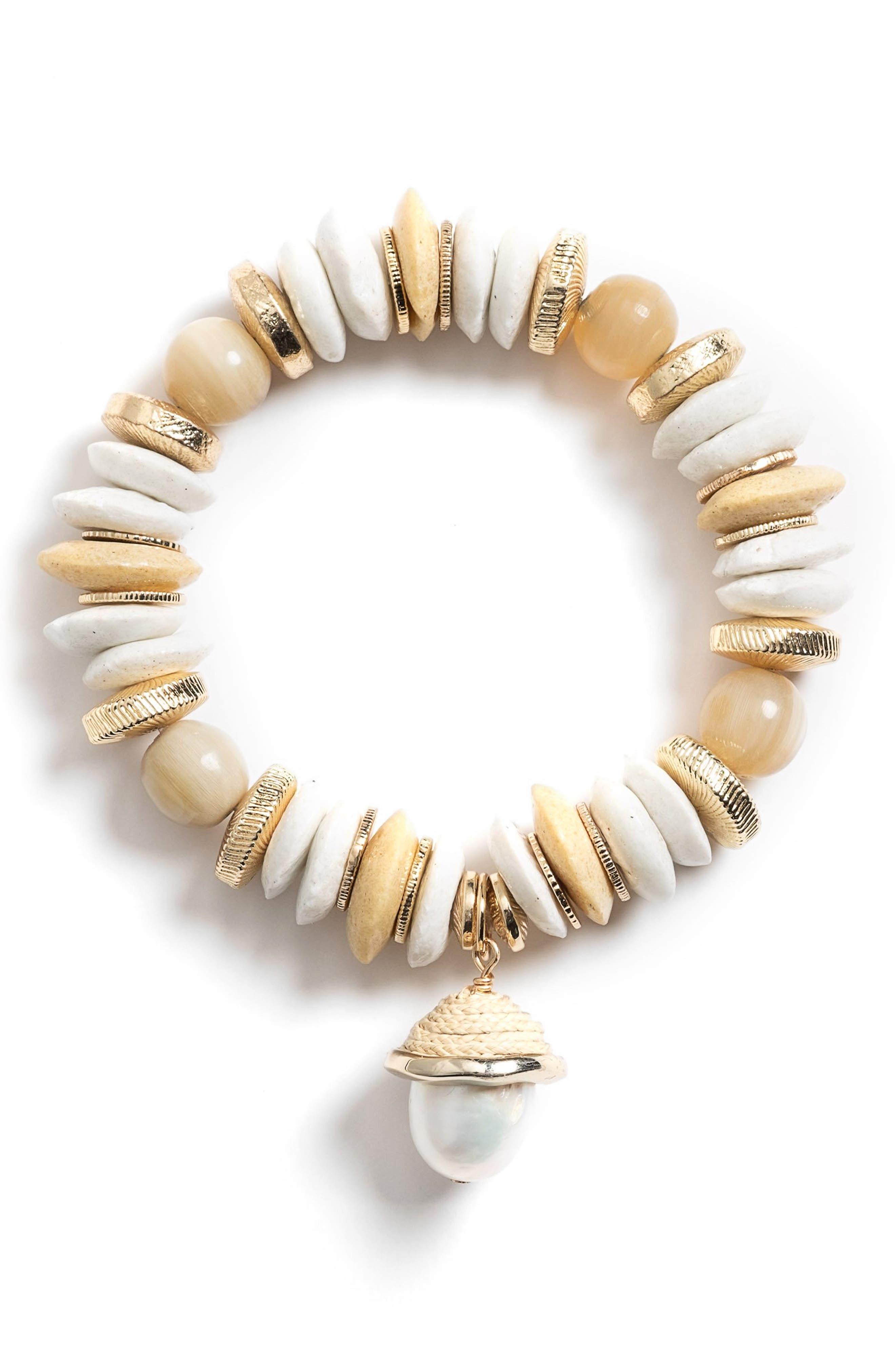 Aster Cultured Pearl Charm Stretch Bracelet