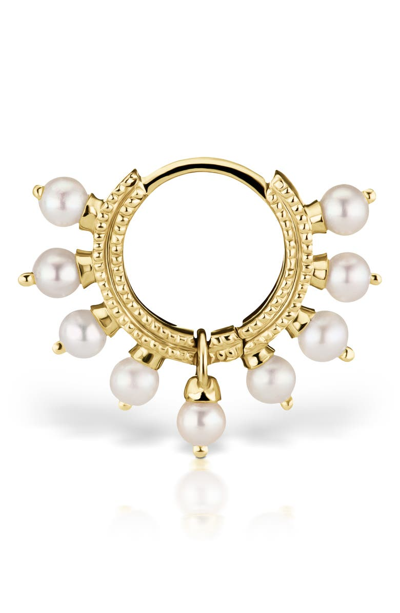 MARIA TASH Coronet Pearl Clicker, Main, color, YELLOW GOLD