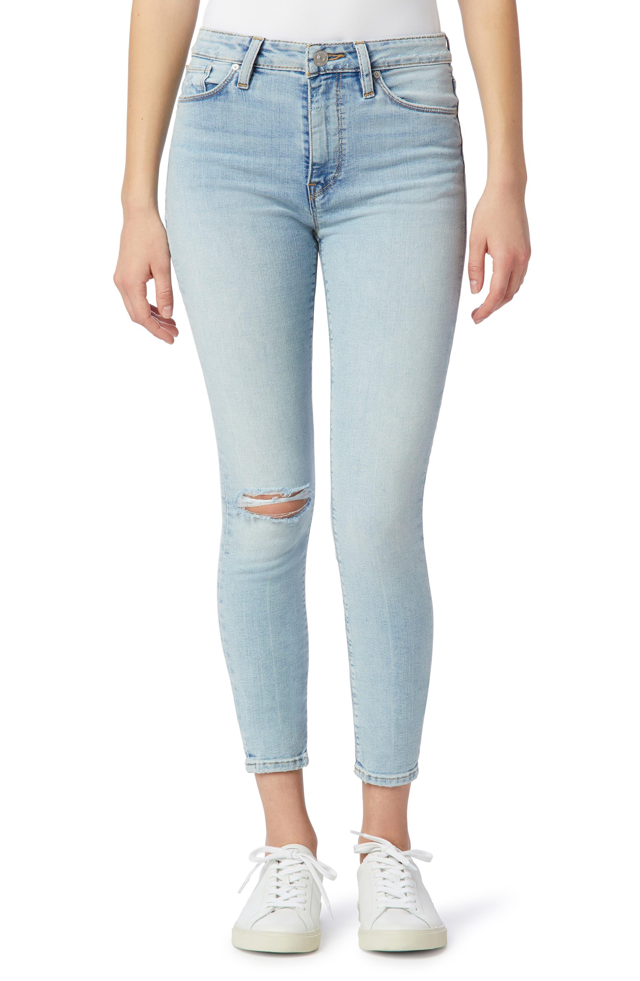 Women's Barbara High Waist Ripped Crop Super Skinny Jeans