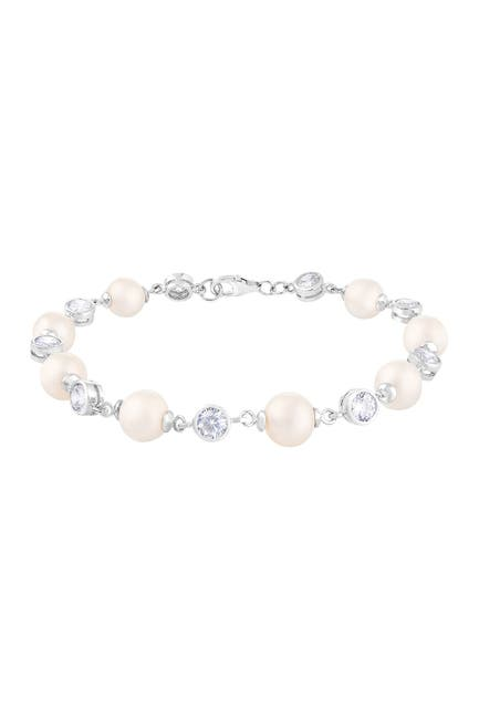 Image of Splendid Pearls Rhodium Plated Sterling Silver White 7-7.5mm Freshwater Pearl & CZ Station Bracelet