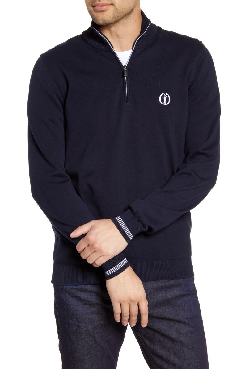 BOSS Zerom British Open Quarter Zip Pullover, Main, color, BLUE
