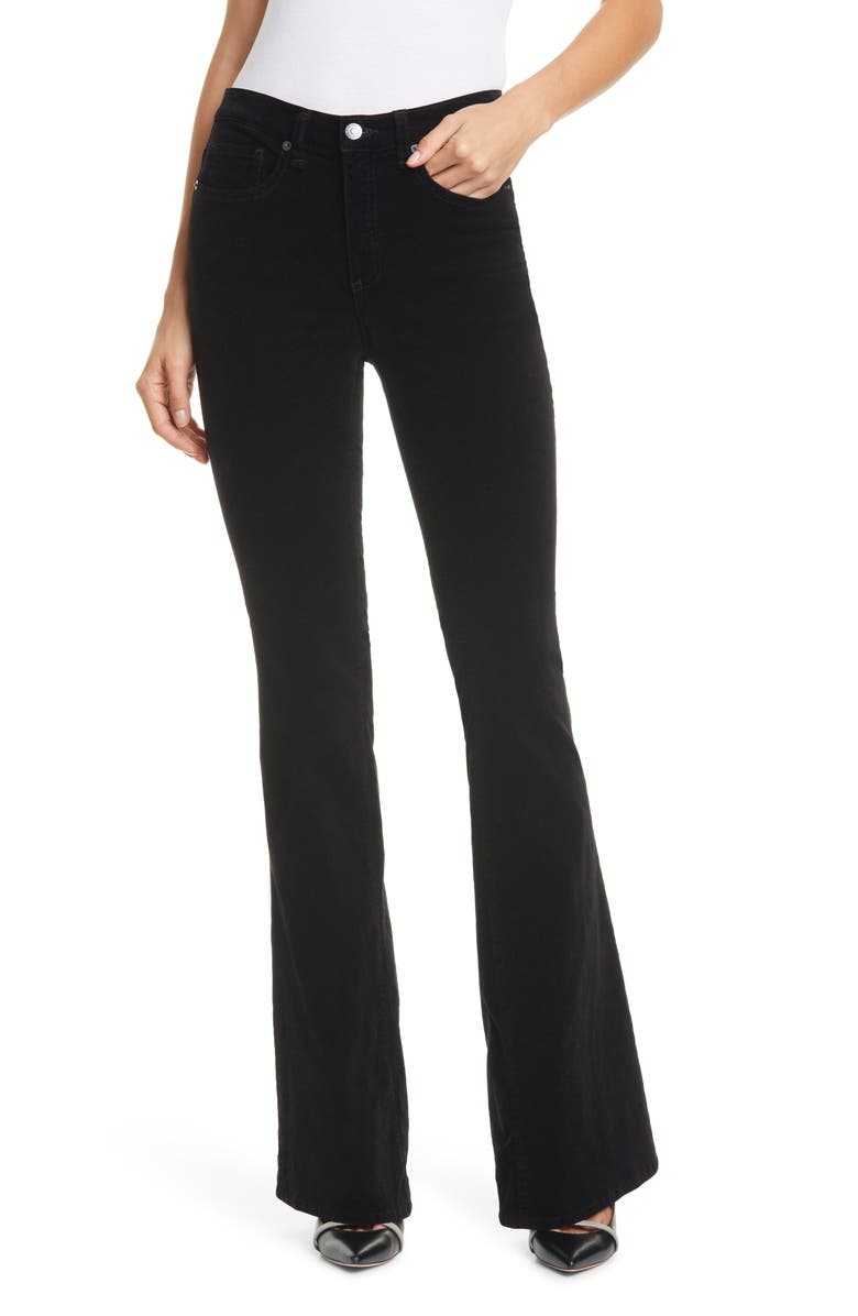 VERONICA BEARD Beverly Skinny Flare Velvet Pants, Main, color, BLACK