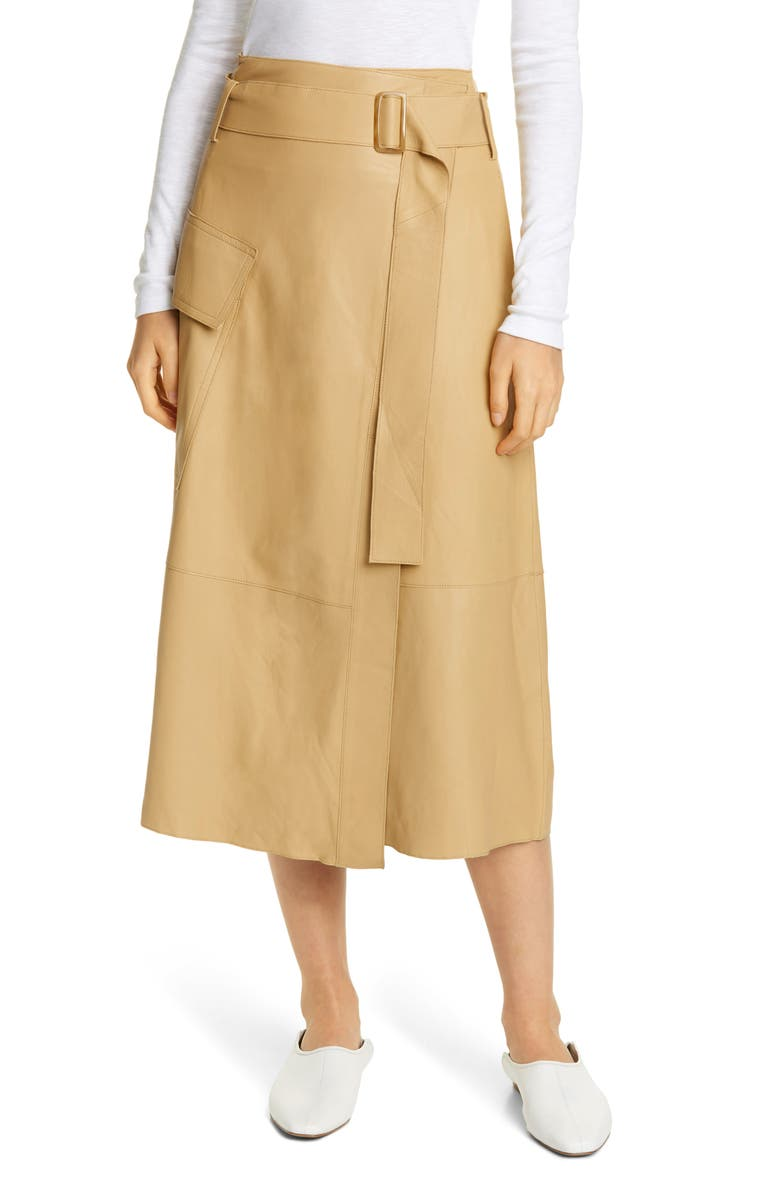VINCE Belted Leather Wrap Skirt, Main, color, STRAW
