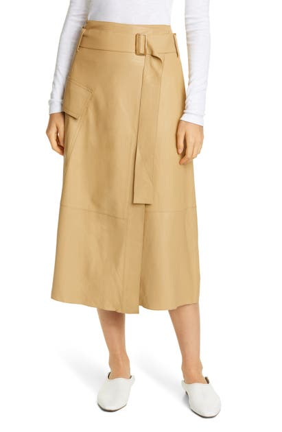 Vince Skirts BELTED LEATHER WRAP SKIRT