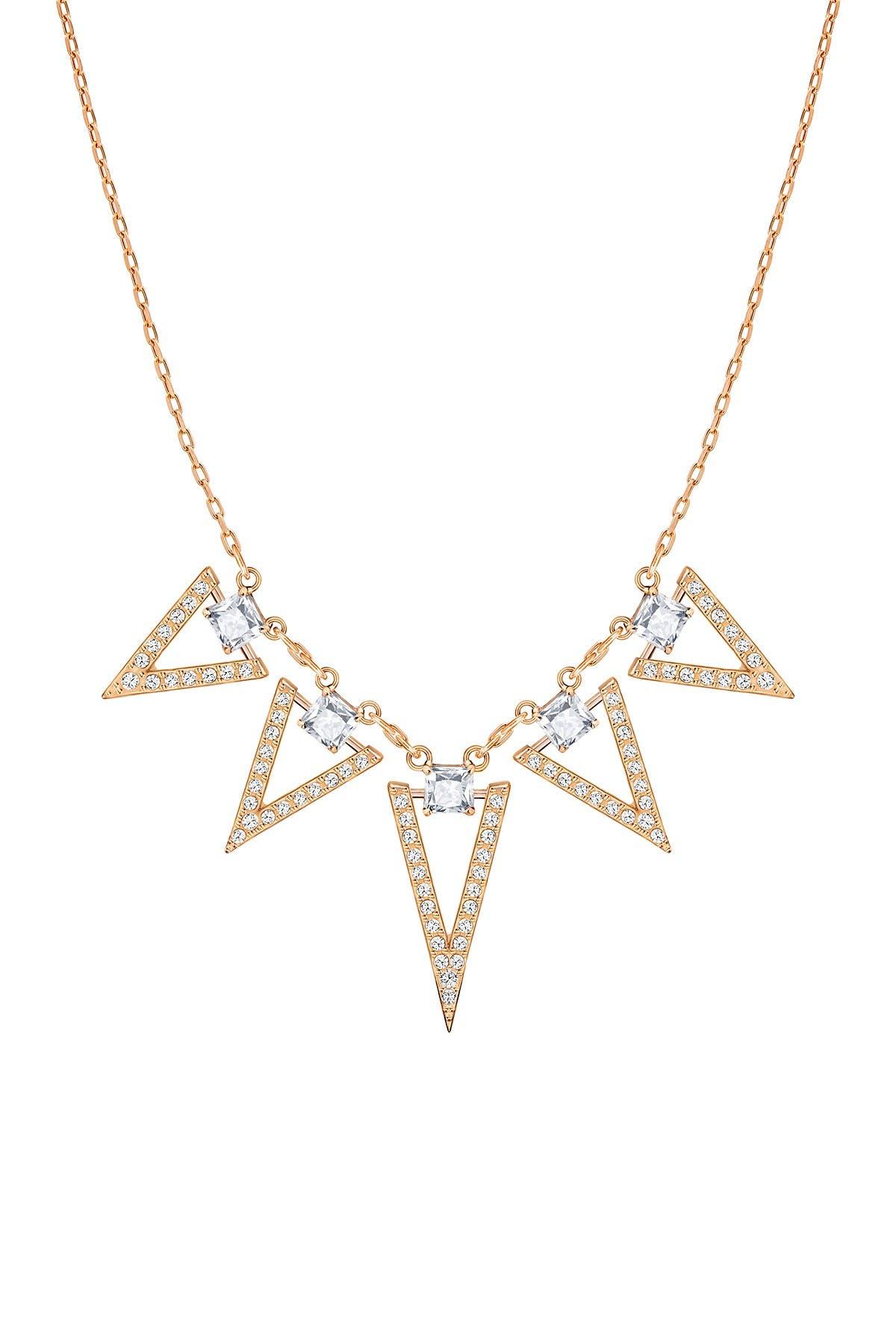 Swarovski Funk 18k Rose Gold Plated Prong Set Swarovski Crystal Pave Triangle Fringe Necklace Nordstrom Rack
