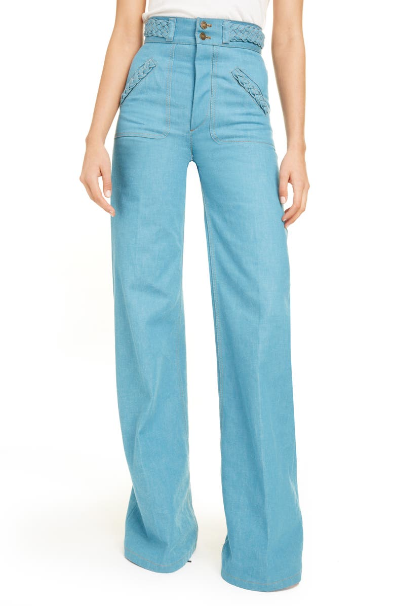 RUNWAY MARC JACOBS Braided High Waist Flare Leg Jeans, Main, color, DARK TURQUOISE